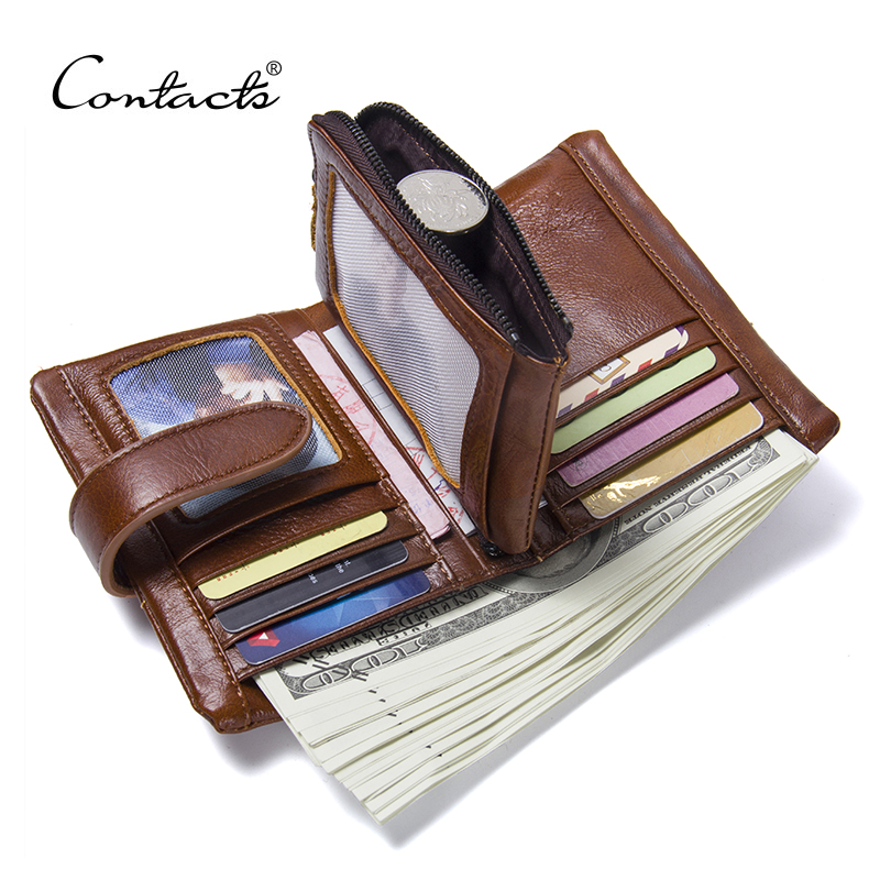 2018 NEW Wallet CONTACTS Brand Design Hasp and Zipper Genuine Leather Wallets Men Fashion Coin Purses Card Holder Carteira