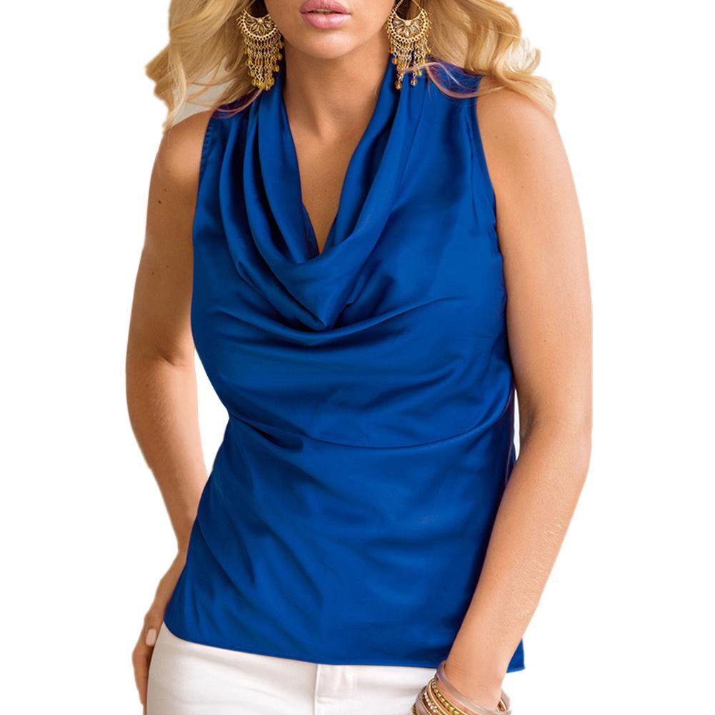 Women Fashion Slim Summer Chiffon Blusas Shirt Sleeveless O-neck Sexy Femme Top Shirt Solid Casual Blouse