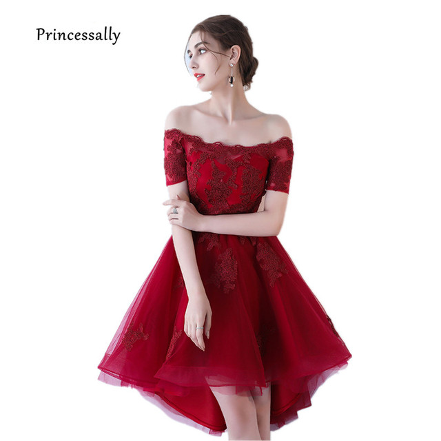 ac88e6d0af0 New High Low Bridesmaid Dress Lace Wine Red Off Shoulder Sexy Boat Neck  Formal Prom Graduation Elegant Dress For Wedding Party
