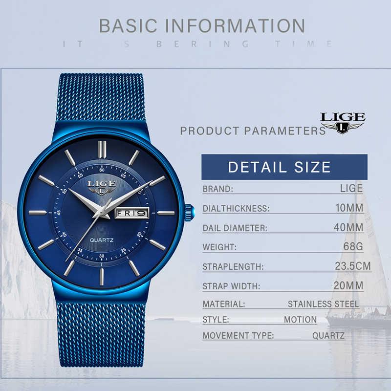 2019 nuevo reloj de cuarzo azul LIGE para hombre relojes de lujo de marca superior para hombre Simple todo acero impermeable reloj de pulsera reloj Hombre