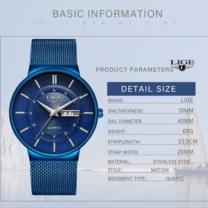Image 4 - 2019 yeni mavi kuvars saat LIGE Mens saatler üst marka lüks erkekler için basit tüm çelik su geçirmez kol saati Reloj hombre