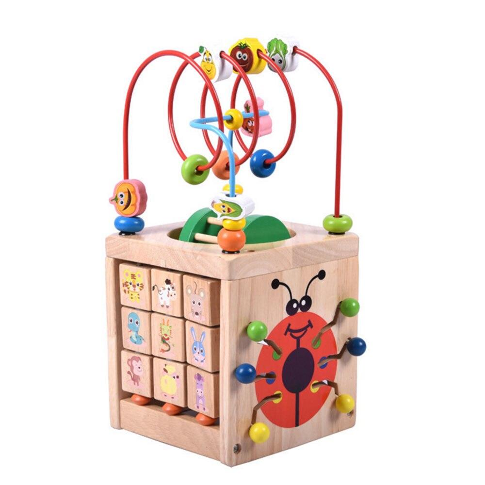 Jouets éducatifs en bois pour enfants en bas âge coccinelle quatre côtés perles rondes boîte au trésor activité Cube perle labyrinthe Abacus comptage enfants