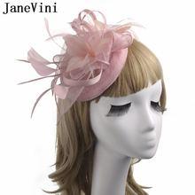 Женская свадебная шляпа с цветами и перьями шпилькой
