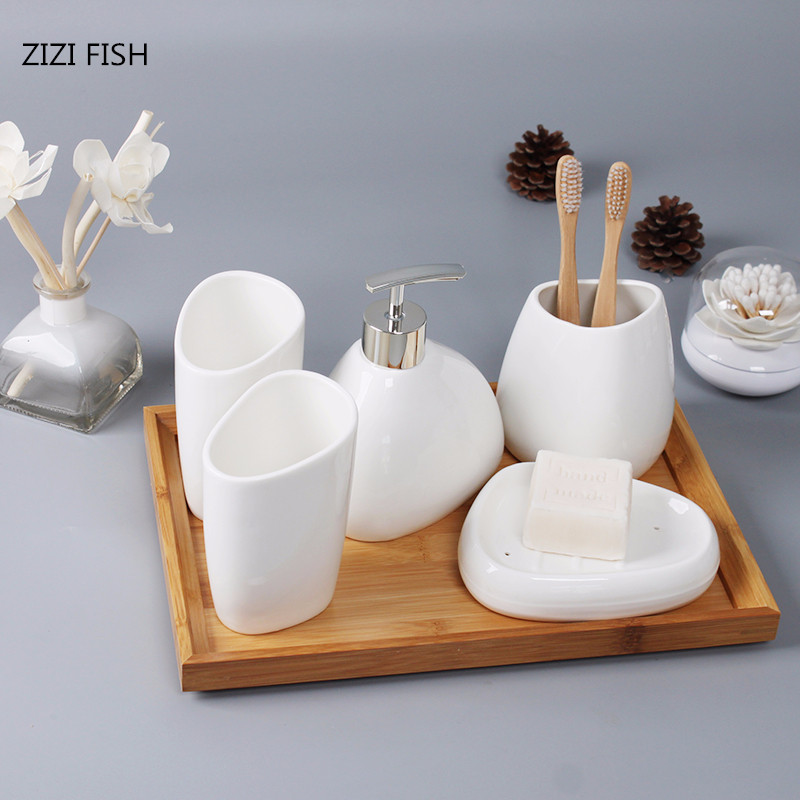 Accessories:  China Six-piece Set ceramics Bathroom Accessories Set Soap Dispenser/Toothbrush Holder/Tumbler/Soap Dish Bathroom Products - Martin's & Co