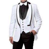 Latest Designs Men Suit White Blazer Black Pants Custom Made Mens Wedding Suits Groom Tuxedo Jacket Pants Vest 3Pcs