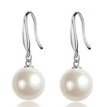 100% 925 sterling silver fashion imitation pearl ladies`drop earrings jewelry women Anti allergy birthday gift drop shipping