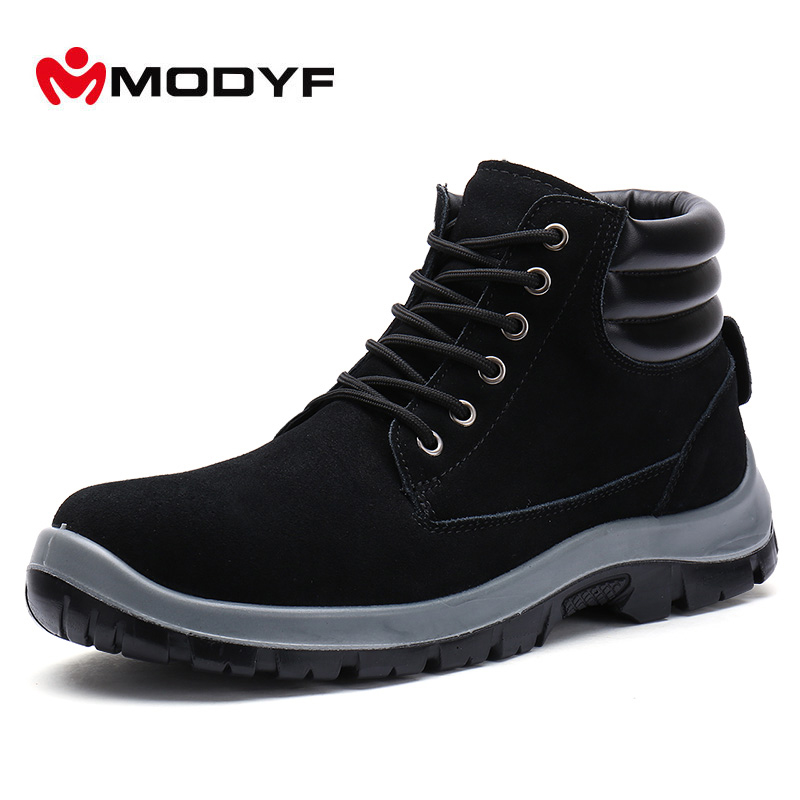 Modyf Men Steel Toe Cap work Safety shoes outdoor ankle winter boots fashion puncture proof footwear