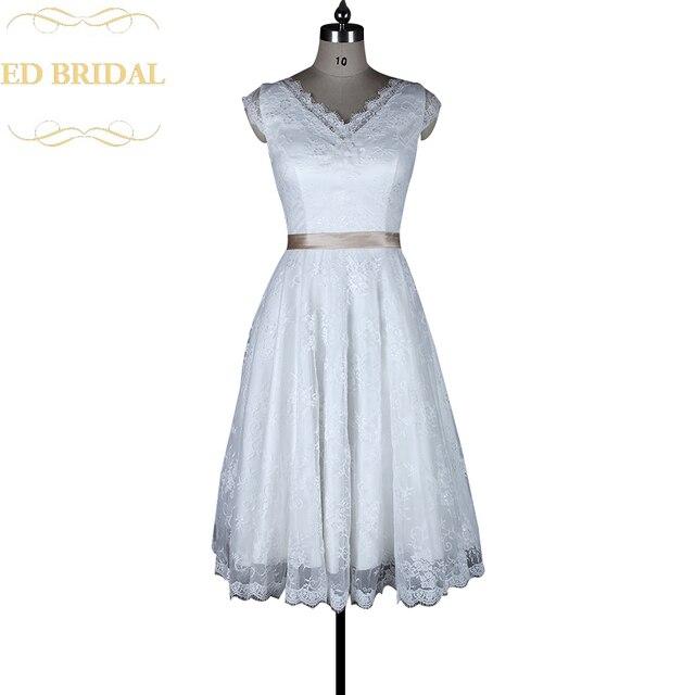 A linie Cap Sleeves Spitze 1950 s Vintage Kurzen Hochzeitskleid ...