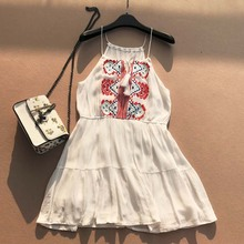 Women new Dresses Explosions Leisure Vintage Elegant Party Embroidery Sling Dress Summer Casual Mini Pleated