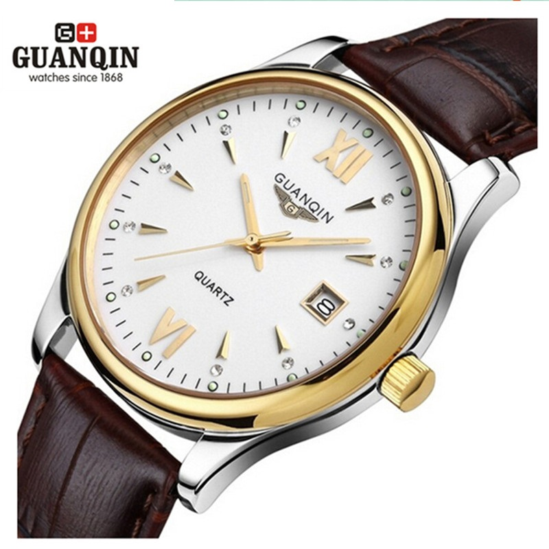 ФОТО Original Brand GUANQIN Men Quartz Watch Leather Analog Watch Clock Waterproof Wristwatches Men Clock Relogio Masculino Reloj