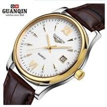 Original GUANQIN Reloj de Los Hombres de Cuero Reloj Análogo de Los Hombres Del Reloj 100 m Impermeable Relojes de pulsera de Cuarzo Hombres Reloj Relogio masculino reloj