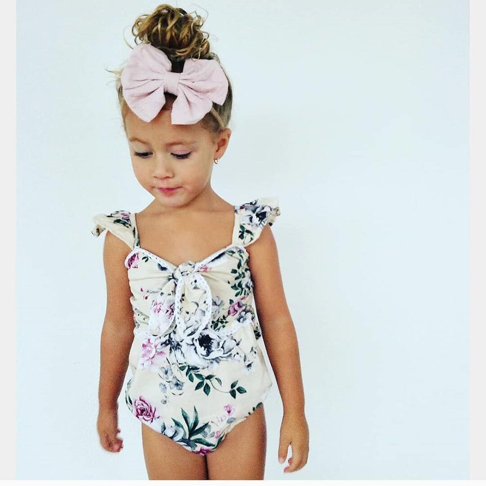 1pc Kids Children Garments Sweet Toddler Girls Mesh Joint Sleeveless Bandage Flying Sleeve Flower Printed Baby Girls bodysuit