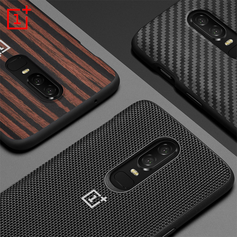 D'origine OnePlus 6 Pare-chocs Cas Matériau Aramide Fibers + Ebonywood + Nylon Cas Protection Tous azimuts 100% Arrière Officielle couverture