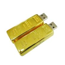 Newest design golden usb flash drive pen drive 8GB 16GB 32GB Gold Bar USB 2.0 Flash memory pendrive Stick disk