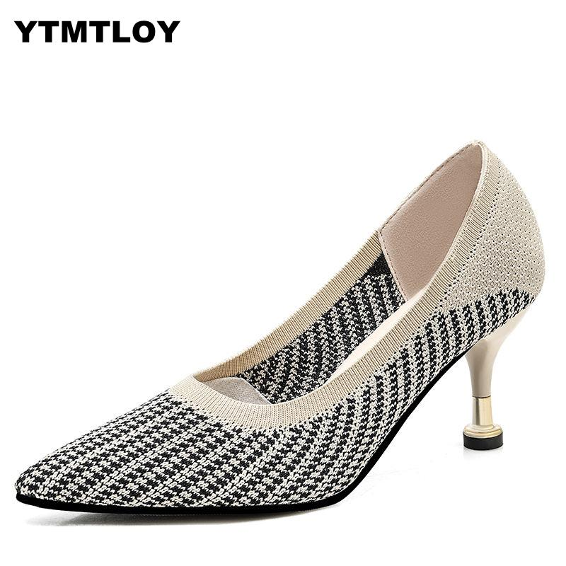 Luxury High Heels Shoes Women Pumps Knitted Fabric Pointed Toe Work Slip On Footwear Female Knitting Wedding Sexy Shoes  Zapatos