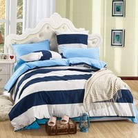 LILIYA 4 6Pieces Easy To Fall Asleep Bedding Set Plain Pillowcase Sheet With Elastic Comfortable Duvet
