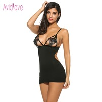 Avidlove Sexy Lingerie Erotic Hot Women Mini Babydoll Sleepwear Crochet Lace Nightgown Female Night Dress Sex