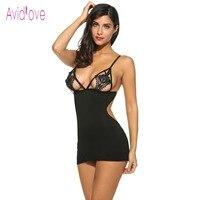 Avidlove Sexy Lingerie Erotic Hot Women Mini Babydoll Sleepwear Crochet Lace Nightgown Female Night Dress Sex