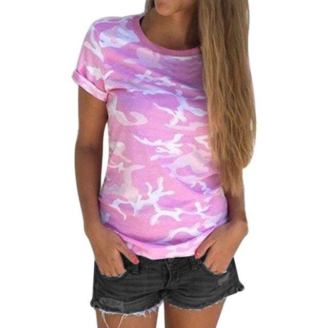 fb49e2927e41a9 Summer New Summer Women Casual Style Camo Short Sleeve Tops Tee Shirt  Fashion Ladies Loose T-shirt