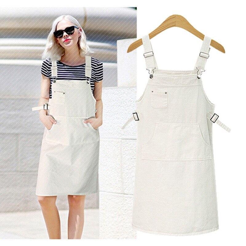 2019 Plus Size summer Jeans Dress Women Washed sleeveless Suspender Denim Dress Sundress Denim Dress Female