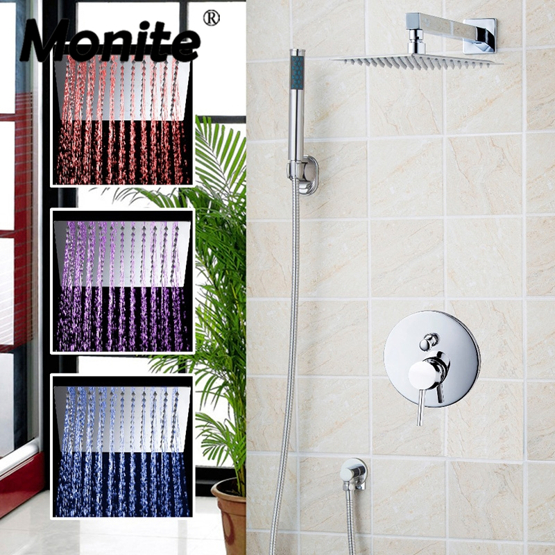 Luxury 3 Functions Bathroom Waterfall & Rain Shower Faucet Set with Handshower Chrome Finished Wall Mounted 8 Shower Head sognare new wall mounted bathroom bath shower faucet with handheld shower head chrome finish shower faucet set mixer tap d5205