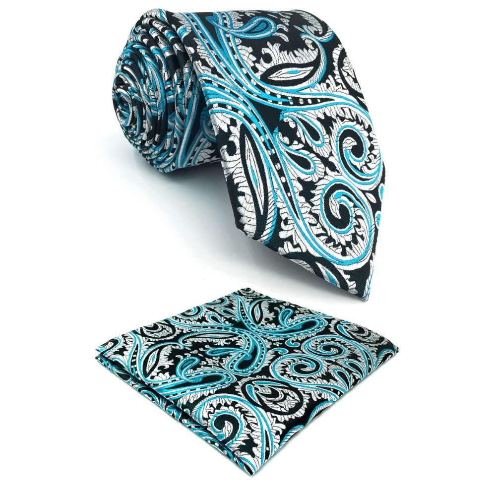 D7 Blue Silver Paisley Men Neckties Silk Wedding Extra long size 63 Fashion Novelty Ties for male Hanky