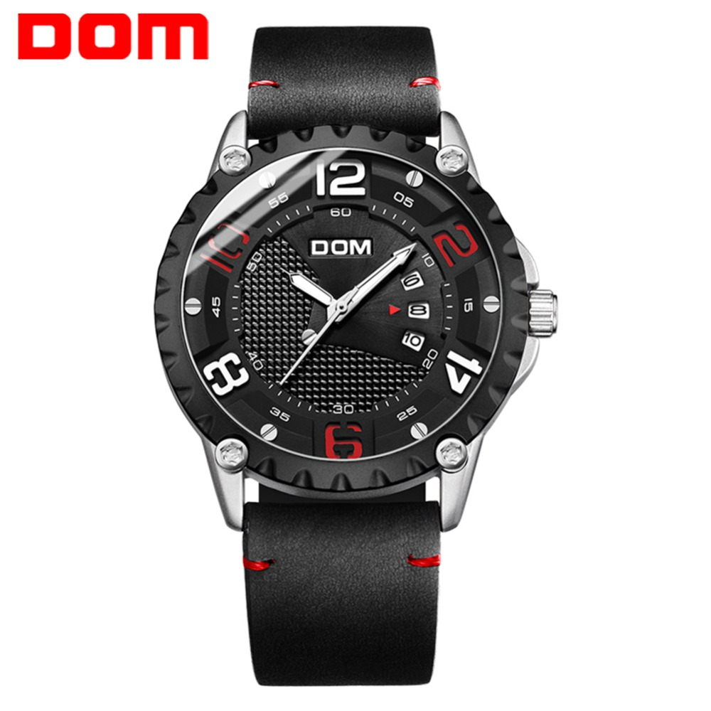 DOM Watch Men Sport Date Clock Top Brand Luxury Leather Strap Luminous Big Dial Military Wristwatch relogio masculino M-1221