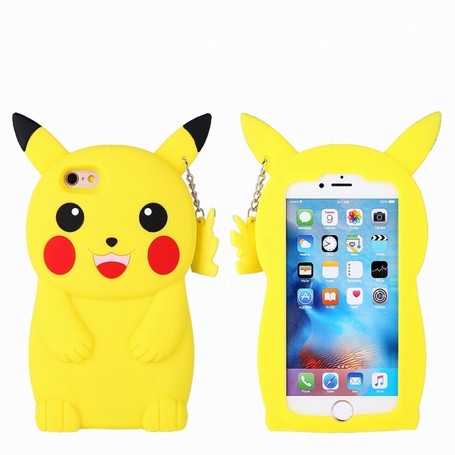 94ce7829e8 HAISSKY 3D Cute Cartoon pikachu case for Apple iphone 5 5s SE 6 6s plus 7 Plus  Silicone Case yellow Animal Rubber phone covers