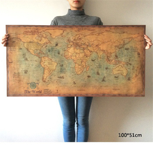 ZOOYOO Nautical Ocean World Map Retro Old Art Paper Painting Home Decor Sticker Living Room Poster Cafe Antique