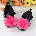 Розовый цветок новорожденных девочка впервые уокер черный и белый зебра девушки обувь для 0 - 3 лет малыш обуви
