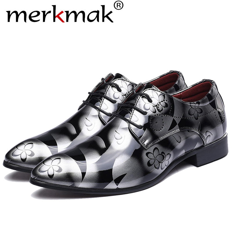 Merkmak talla grande 37-48 moda hombres vestido zapatos de boda zapatos de punta redonda hombre planos de cuero de negocios zapatos de calzado de encaje británico