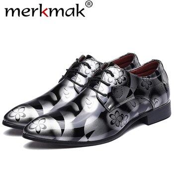 Merkmak ze skóry lakierowanej Oxford buty dla mężczyzn sukienka buty męskie buty wizytowe szpiczasty nosek sukni ślubne Plus rozmiar 49 50