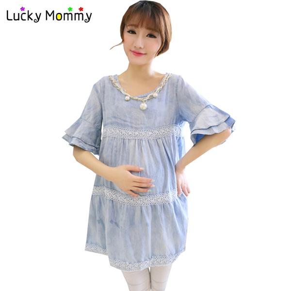 Maternidad de algodón de mezclilla camisetas Casual Tops de maternidad ropa para mujeres embarazadas embarazadas camiseta más el tamaño embarazo blusa