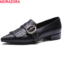 MORAZORA Hot Sale Leisure Genuine Leather Pointed Toe Women Pumps Rivets Tassel Single Shoes New Arrive