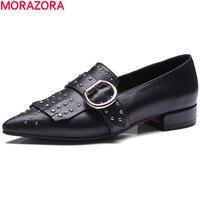 MORAZORA Hot Sale Leisure Genuine Leather Pointed Toe Women Pumps Rivets Tassel Single Shoes New Arrive