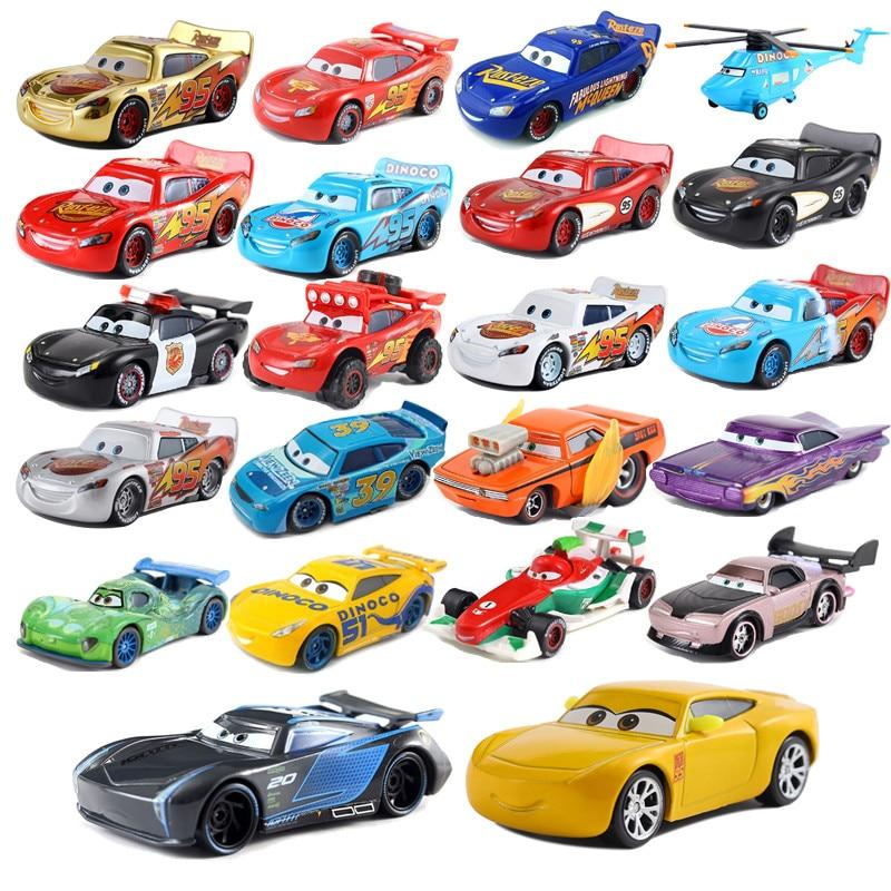 New Disney Pixar Car 3 Toy Car McQueen Jackson Family 1:55 Die-cast Metal Alloy Model Toy Car 2 Male Birthday Christmas Gift