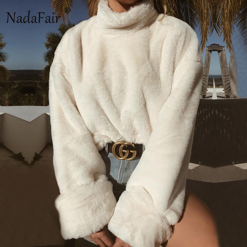 Nadafair langarm rollkragen weiß weiche plüsch pullover frauen 2018 herbst winter casual dicke warme faux pelz pullover tops frauen