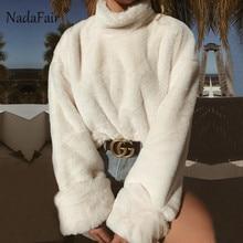 Nadafair long sleeve turtleneck white soft plush sweater women 2018 autumn winter casual thick warm faux fur pullover tops women