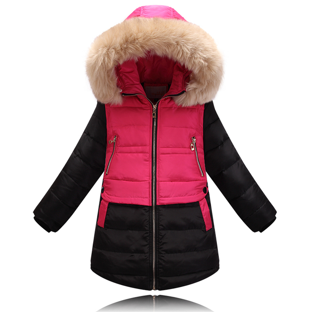 Children's down jacket fur collar Girls long section of the Korean version  the genuine big virgin winter models thick