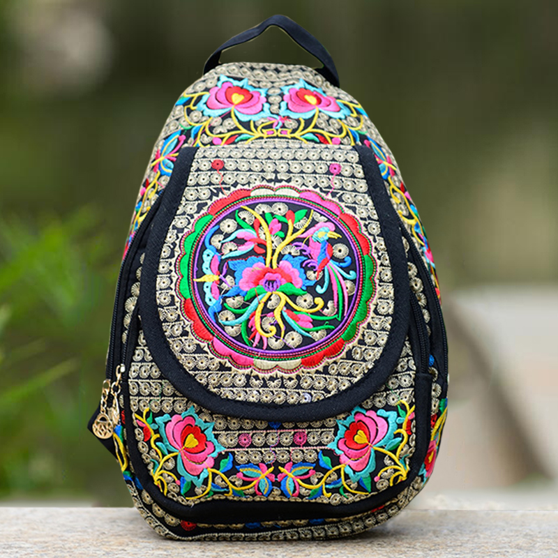Vintage Embroidery Ethnic Canvas Backpack Back Bag Chinese Yunnan Handmade Flower Embroidered Schoolbag Rucksack Mochila
