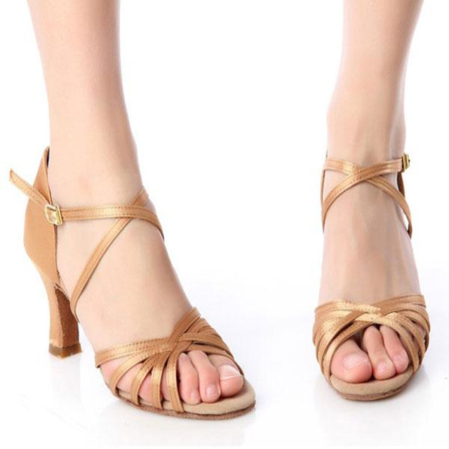 Brand Women Sandals High Heel Solid Buckle Front Strap Ladies Ballroom Prom Waltz Latin Tango Dance Shoes Fashion Summer Sandals