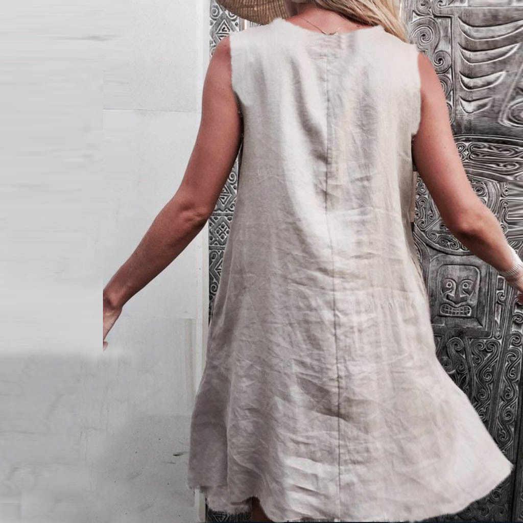 Feitong 2020 mode coton lin femme robe jeunesse décontracté femmes à manches courtes O cou ample Bohe décontracté balançoire robe Vestidos @ 122