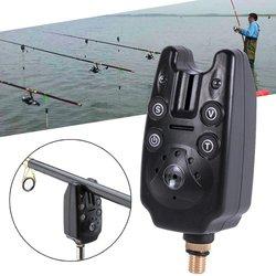 Alarme da mordida de pesca com 2 leds azul luz volume tom ajustável sensibilidade som à prova dwaterproof água peixe mordida alarme pesca toolsc