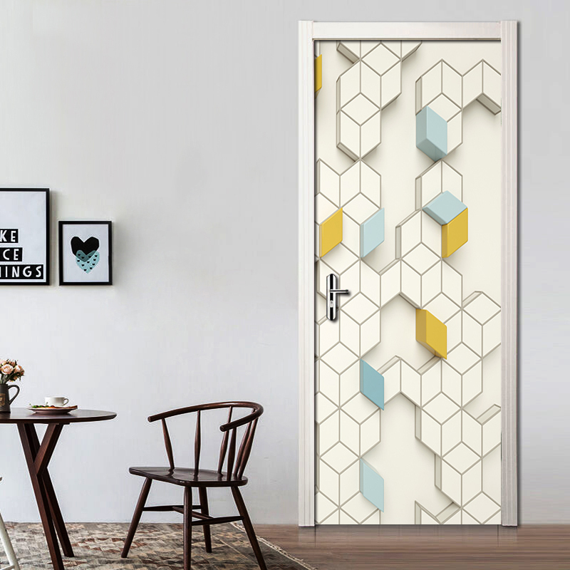 Colorful Geometric Polygon Mural Living Room Bedroom Decorative Art Wall PVC Waterproof Self-adhesive Wall Paper Door Stickers