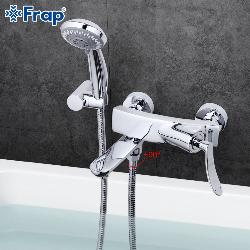 Frap Modern Style Shower Bathroom Faucet Cold and Hot Water Mixer 90 Degree Rotation Switch Crane