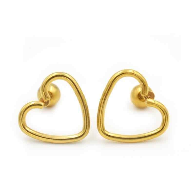 1 pc เดี่ยวสแตนเลสสตีล Hypoallergenic Heart Shape ต่างหูสตั๊ดเครื่องประดับหูกระดูกเล็บสำหรับผู้หญิงขายส่งใหม่ต่างหู