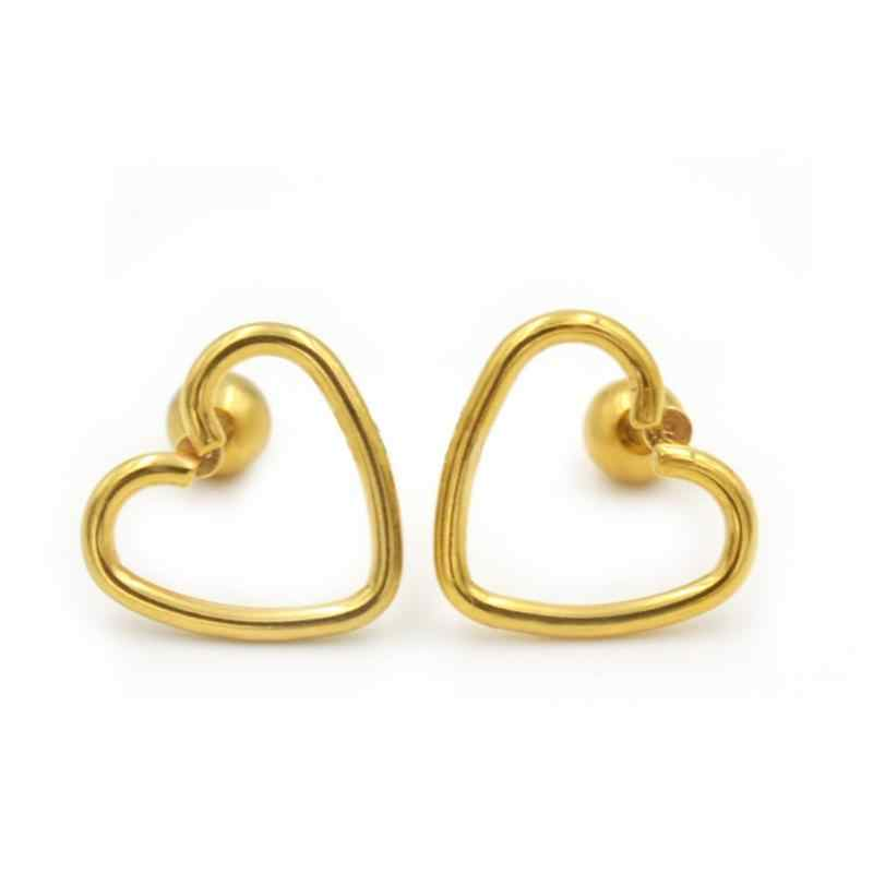 1pcs Single Hypoallergenic Stainless Steel Heart Shape Piercing Earring Stud Jewelry Ear Bone Nail for Women Girls Wholesale New