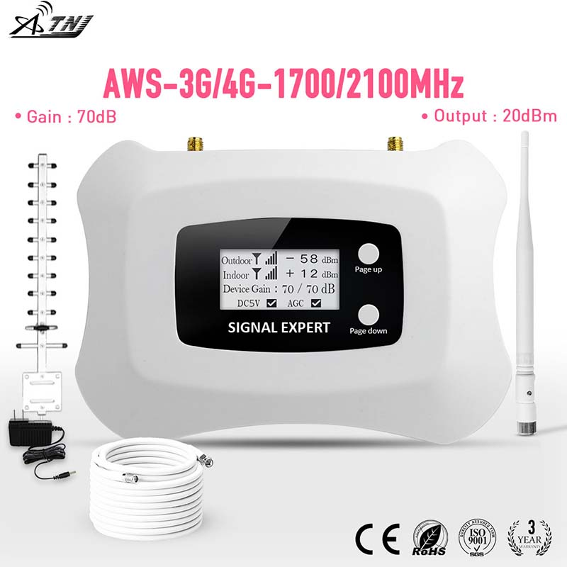 Best Price!! Global Frequency AWS1700mhz 3g 4g Smart Mobile Signal Booster3g4g Cellular Repeater Amplifier With Yagi For America