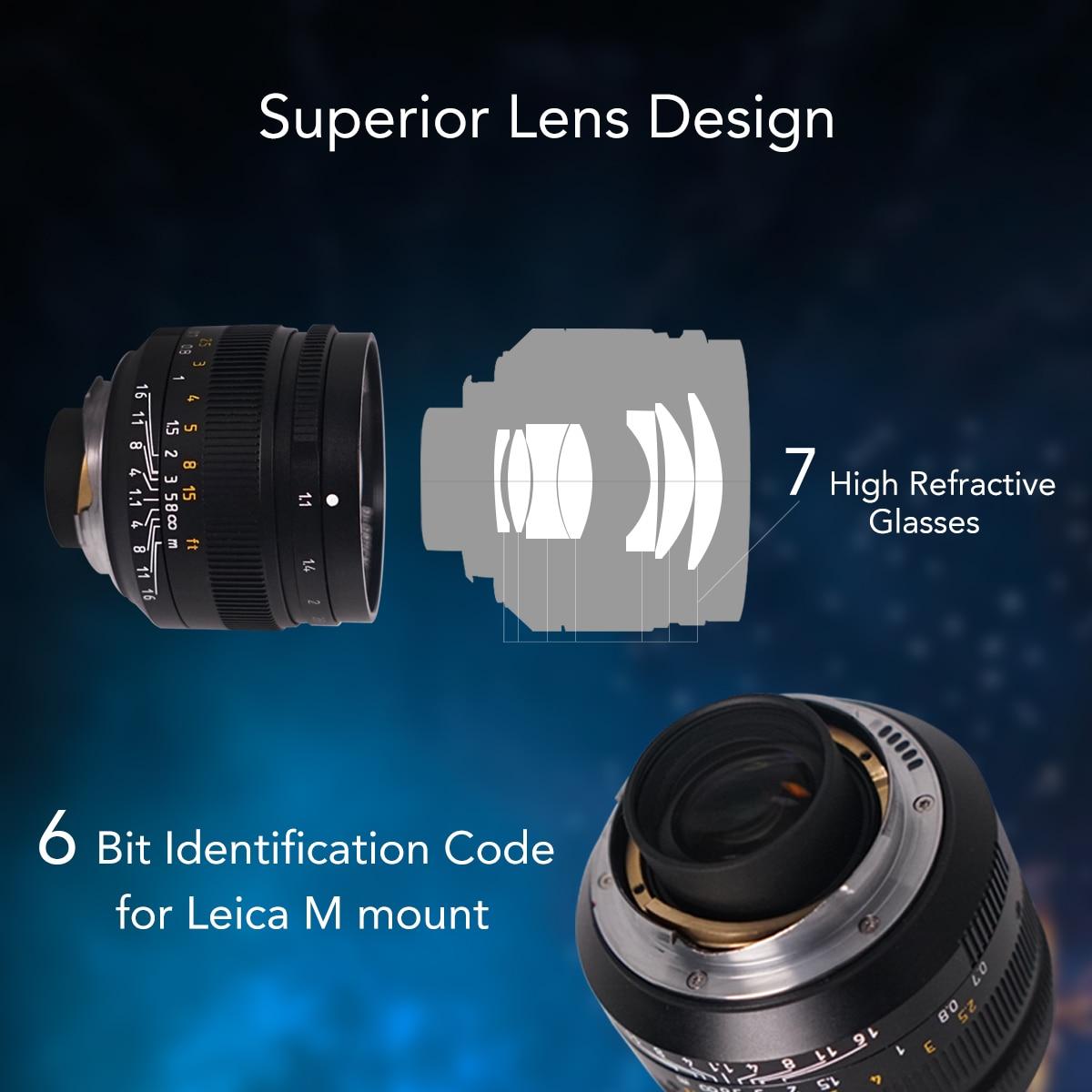 7 artesanos 50mm F1.1large apertura Paraxial M montaje de la lente para las cámaras M M240 M3 M5 M6 M7 M8 M9 M9p M10 - 6