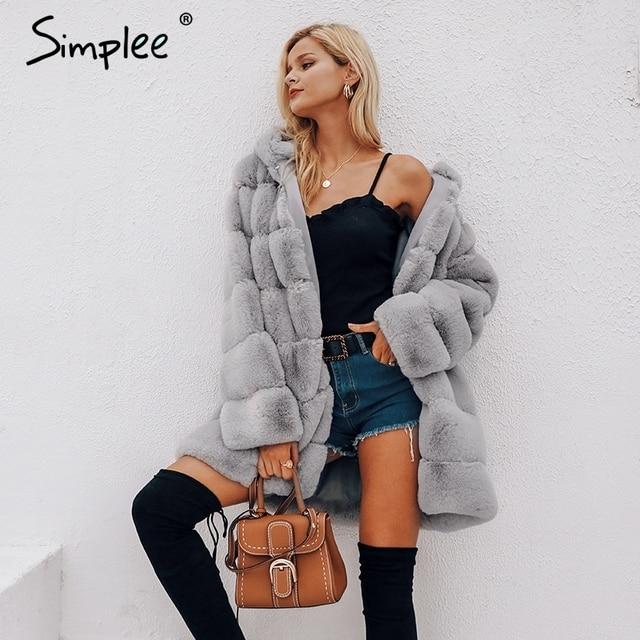 Simplee Vintage fluffy hoodie faux fur coat women Winter grey jacket coat female Plus size warm long casual outerwear overcoat 1